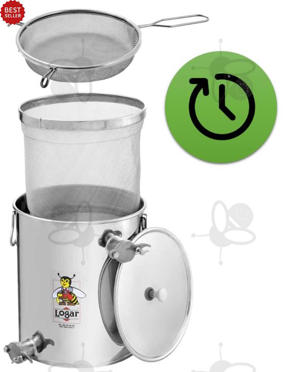 Unterstell-Siebkanne 30 kg with fine sieve and upper tap + coarse honey  screen