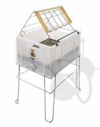 Picture of Uncapping tank with stand, plastic, stainless steel perforated insert - lying