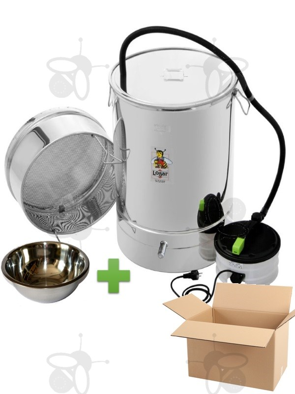 Wax melter/disinfection pan 100 l, with steam generator, stainless steel + wax bowl 2,3 l