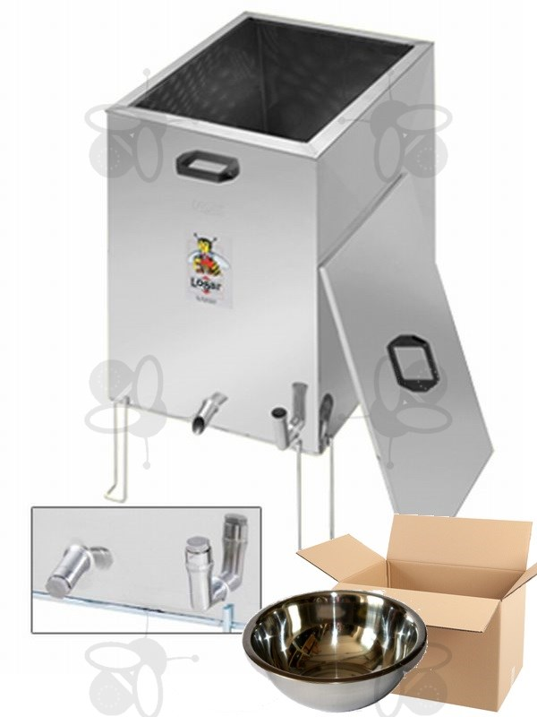 Steam wax melter/disinfection pan, stainless steel, gas + wax bowl 3,2 l