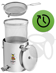 Picture of Unterstell-Siebkanne 30 kg with fine sieve and upper tap + coarse honey screen